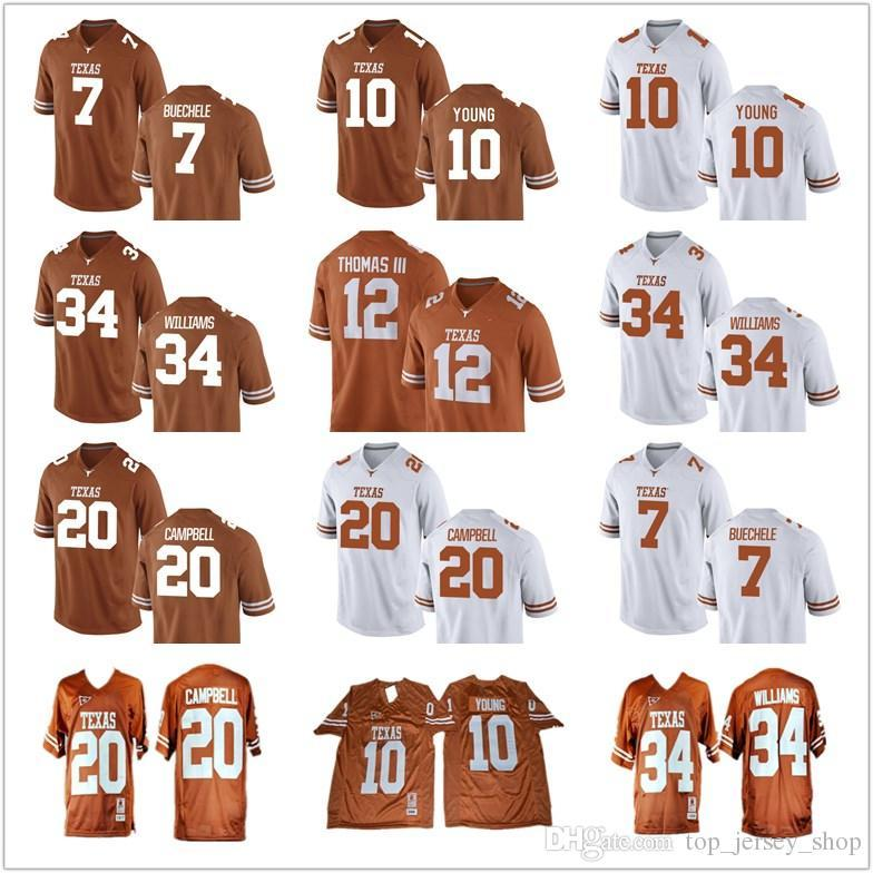 cheaper feae9 ab209 NCAA Longhorns Jersey M&N Retro 10 Vince Young Earl Campbell 34 Connor  Williams Buechele College football jerseys