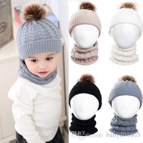 f2259bd90fd 2019 Newest 2019 Newborn Baby Boy Girl Winter Warm Fur Pom Bobble Knit  Beanie Hat Caps+Scarf 1 3T From Baby201805