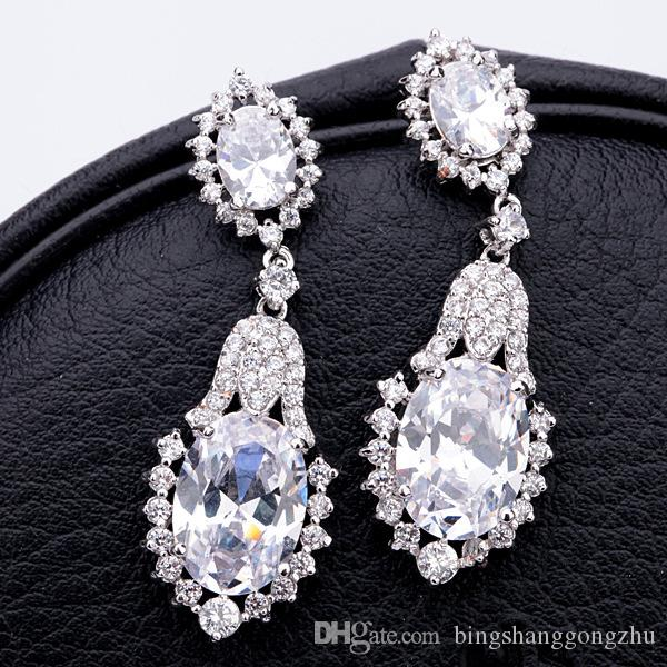 44083a384e21e Luxury Crystal Bridal Earrings Tear Drop Long Wedding Earrings CZ  Bridesmaid Dangle Earrings Evening Prom Jewelry Blue Red Silver Green