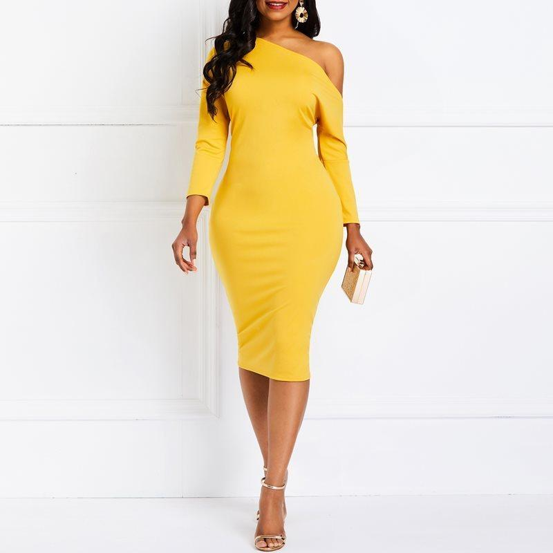 c250b3aa87 2019 Evening Party Date Yellow Oblique One Off Shoulder Bodycon Dress  African Women Office Lady Spring Vogue Day Dresses C19041501 From Shen8407