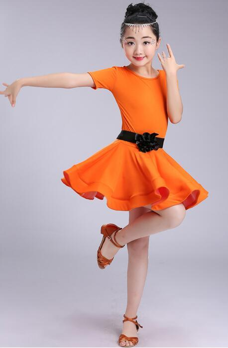 1pcs/lot children solid latin dress girl girl training latin dress kid modal dancing with belt