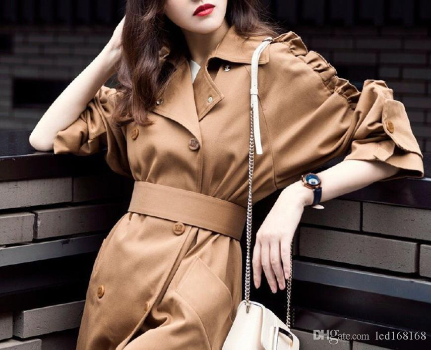 Trench Coat Casual women's long Outerwear loose clothes for lady with belt spring autumn fashion high quality army green