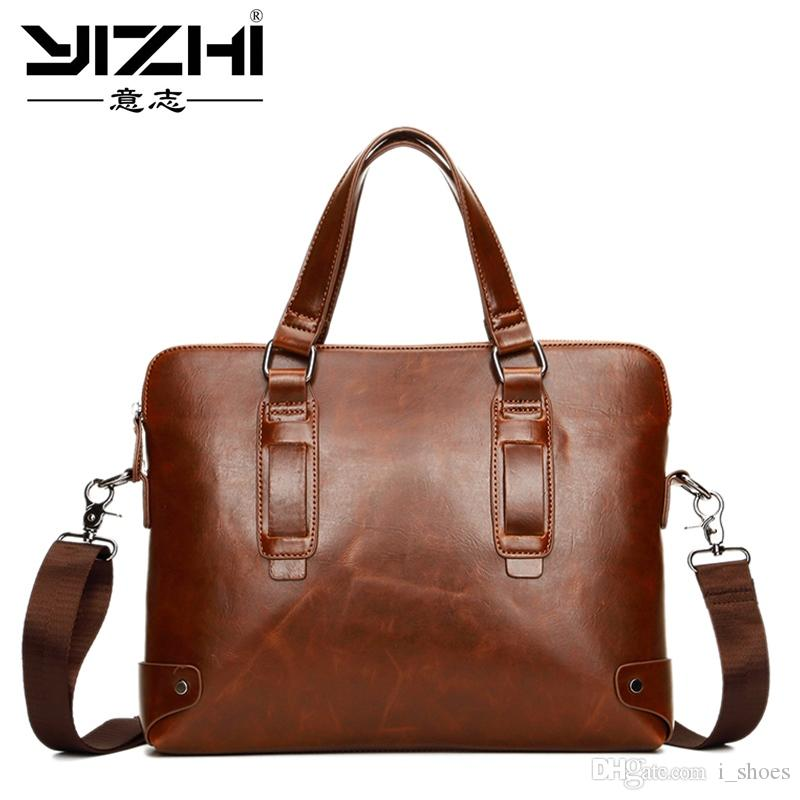 Brand Crazy horse pu leather men bags vintage business leather briefcase men's Briefcase men travel bags tote laptop bag man bag #200919
