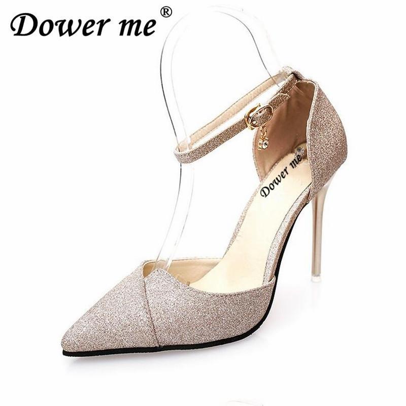 Designer Dress Shoes 2019 High Heels Women Pumps Glitter High Heel Woman  Wedding Party Sexy Ms +Word Buckles 10 Cm High Heels Work Formal Shoes  Cheap Shoes ... 662cc919c5b7