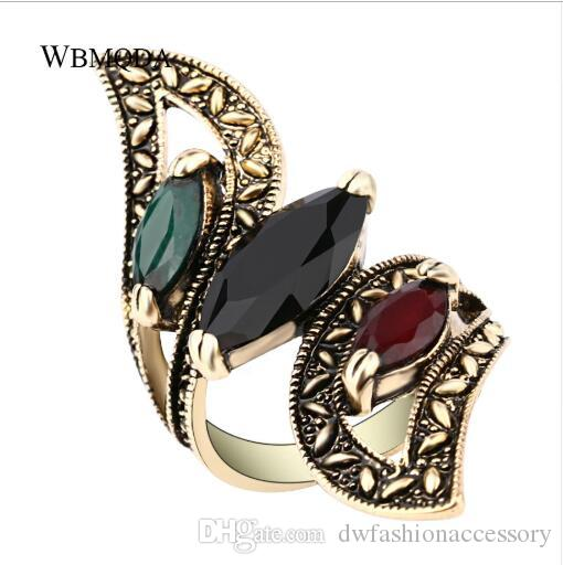 Vintage Boho Big Wings Ring Antique Gold Gemini Rings For Women Fashion Statement Turkey Indian Jewelry 2018 Free Shipping