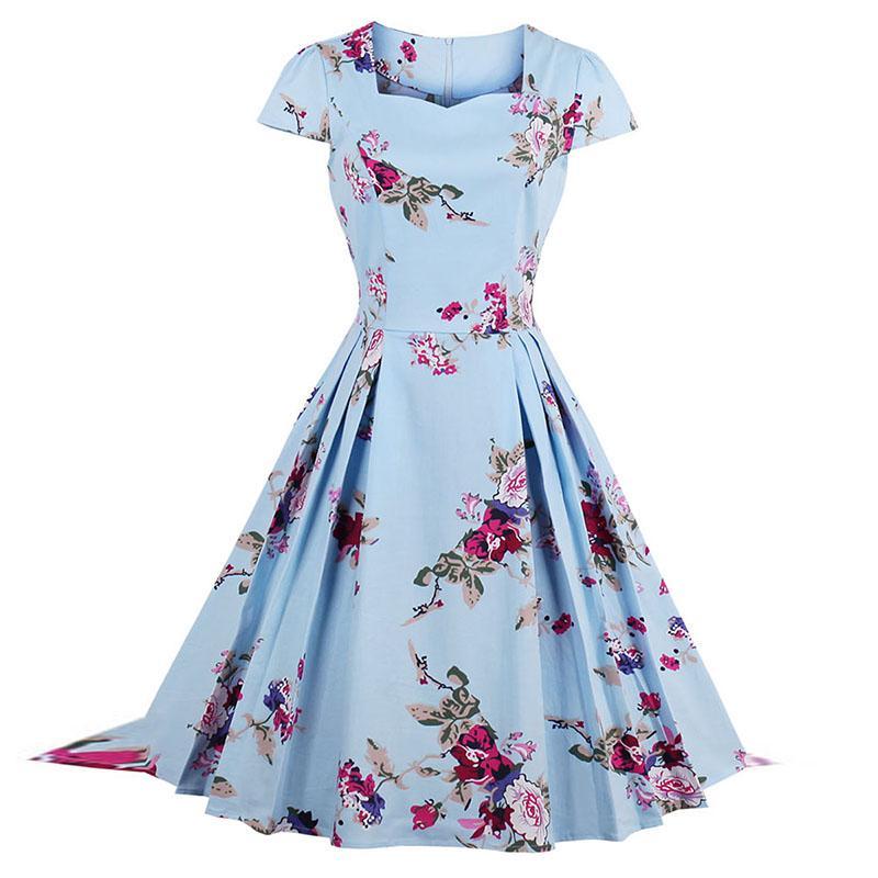 856afdf1c Compre Mujeres Vestidos Midi Dulce Vintage Elegante Tallas Grandes Señora  De La Oficina Suelta Cuello Cuadrado Floral Estampado Plisado Mujer Verano  Retro ...