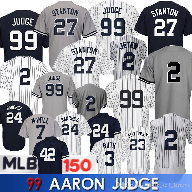 save off a6202 91bb9 99 Aaron Judge Jersey 2 Jeter 27 Stanton Yankees baseball Jersey 23 Don  Mattingly 3 Babe Ruth