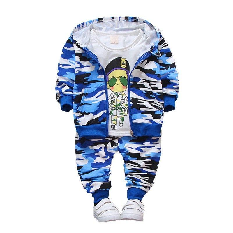 2260a1e445 Compre Primavera Otoño Ropa De Niños Bebés Niñas Niños Camuflaje Color  Chaqueta De Algodón Camiseta Pantalones 3 Unids   Set Infant Casual  Chándales A ...