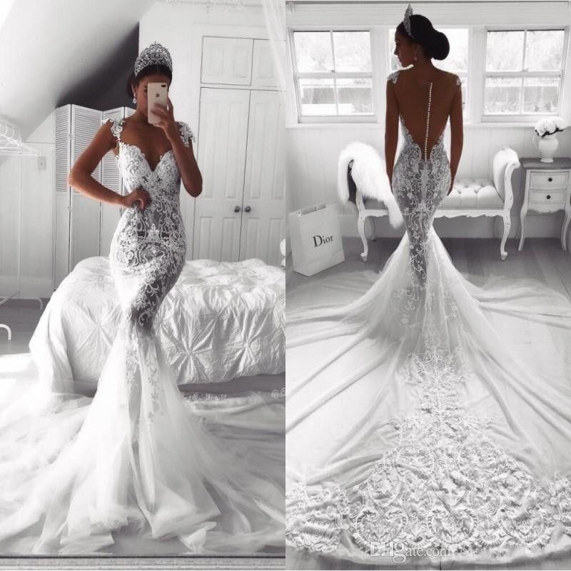 White Ball Gown Wedding Dress 2019 Robe De Mariee Sirene Sleeveless Sweep Train Reception Dress Bridal Gowns Custom Made Weddings & Events
