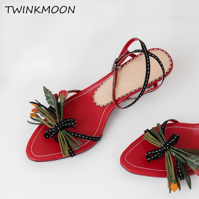 ae2946fa95b 3D Flower Sandals Women Appliques 5.5cm High Heels Summer Shoes Fringe  Mules Women Slides Vacation Shoes Summer 2019