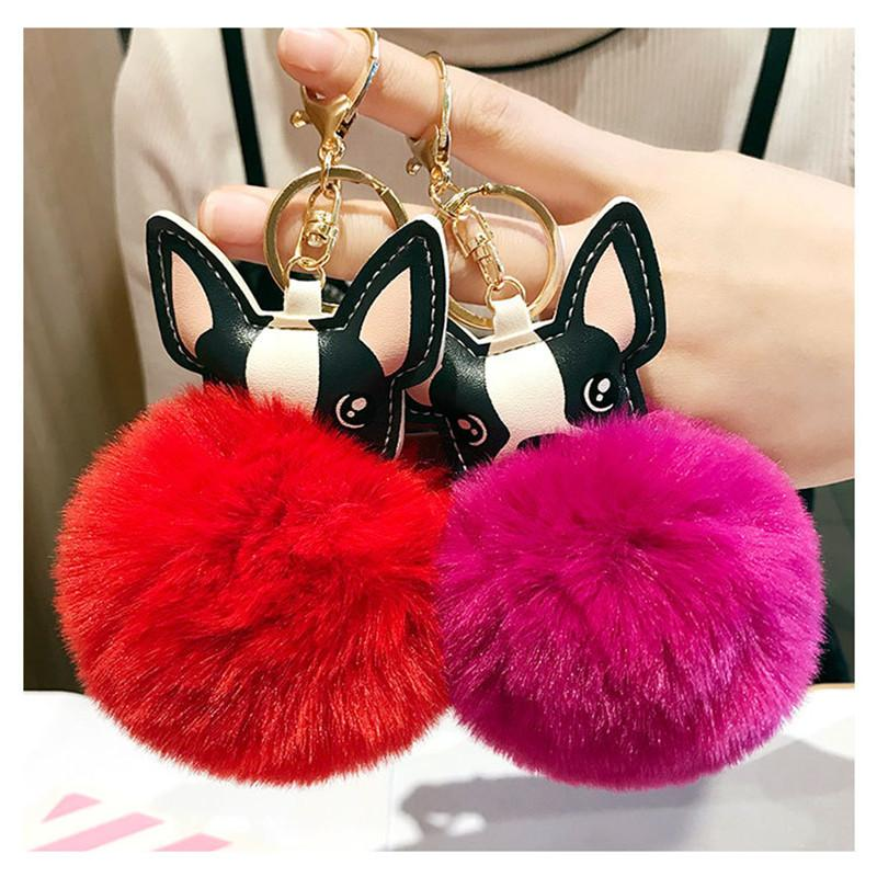 Cute French Buldog Pompom Keychain for Women PomPom bag chain Fluffy Leather Keyring trinket Car BagKey Ring Cute animal gift
