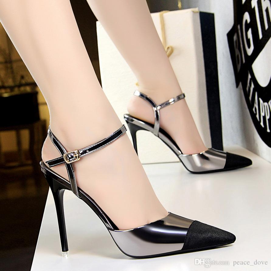 black sandals pointed toe high heels super high heels dress office shoes women slingback pumps women shoes fetish high heels summer sandals