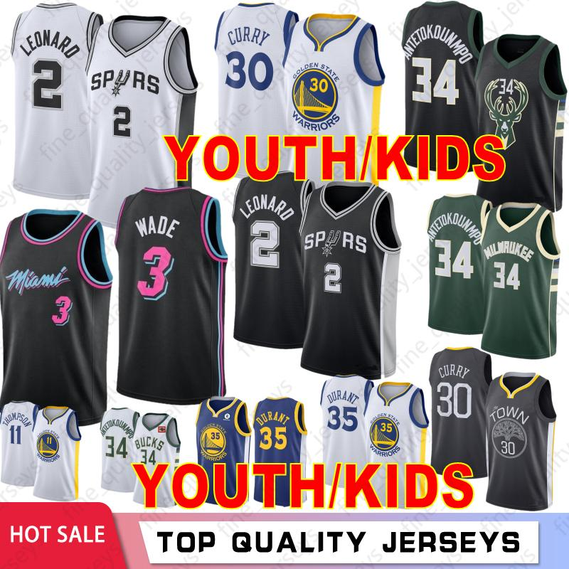 size 40 19acb 5227c Giannis 34 Antetokounmpo Milwaukee Youth Kids Bucks Boys Basketball Jerseys  Dwyane 3 Wade Miami Kawhi 2 Leonard Heat 30 Curry 35 Durant