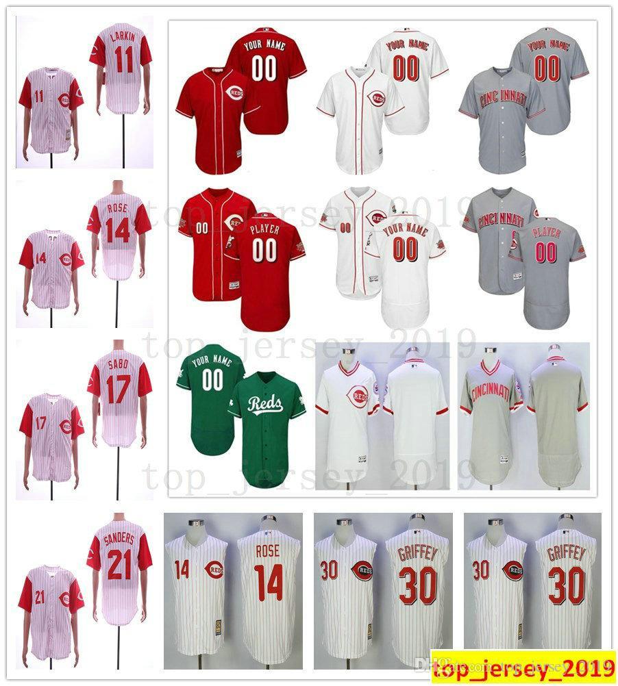 e8ea1c7168 2019 Cincinnati Retro Reds 5 Johnny Bench 14 Pete Rose 11 Barry Larkin 30 Ken  Griffey Jr. 17 Sabo Majestic 21 Deion Sanders Jersey From Syd_sport_mall,  ...