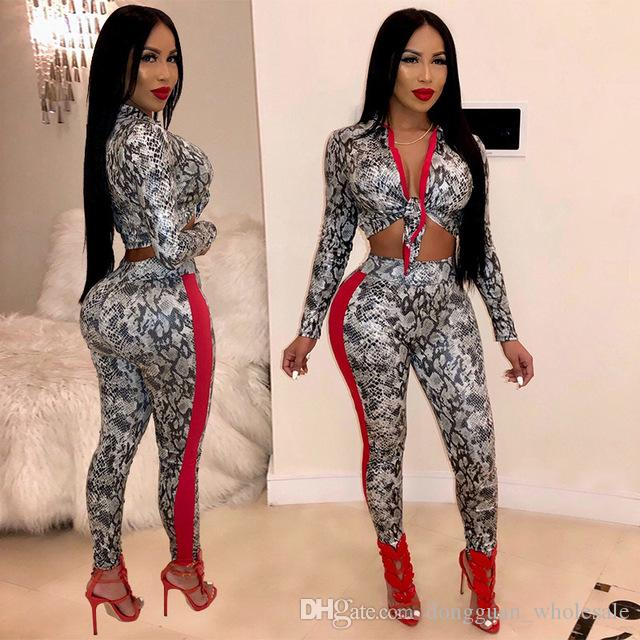 ed4f47fbb82 Women Party Sexy Set Spring Turn Down Collar Lace Up Full Sleeve Crop Top  And Printed Pencil Pants 2019 Outfits Pencil Pants Set Spring Full Sleeve  Online ...