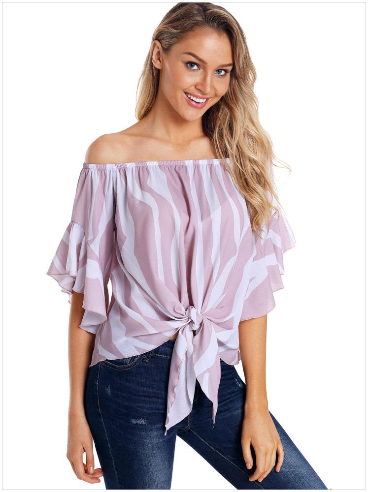 44d076a1f08 2019 New Summer Off Shoulder Stripped Blouse Bell Sleeve Print Women Top  Blouse Flare Sleeves From Fashionboutique2019, $18.1 | DHgate.Com