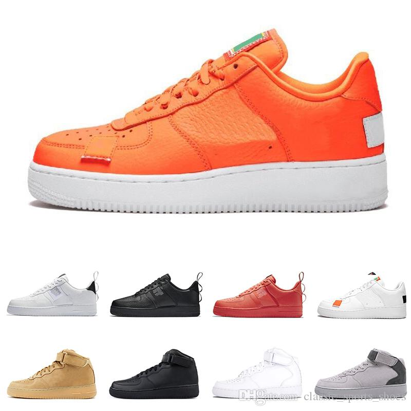 Nike Air Force 1 AF1 just do it Chaussures de course pour hommes femmes dunk utility Low High White lin orange orange rouge Hommes Baskets Baskets
