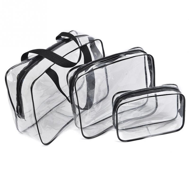 Transparent Pvc Cosmetic Bag Women Travel Makeup Bag Zipper Make Up Organizer Storage Pouch Toiletry Beauty Wash Kit Case