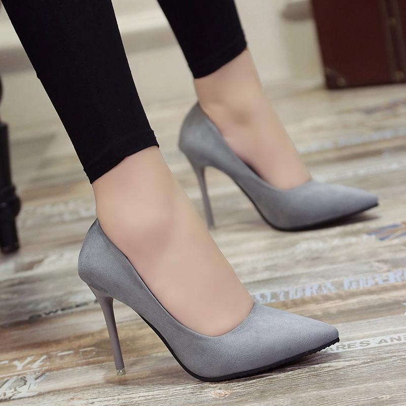 be5009c35a8 2019 New 10cm black pointed high heels stiletto shallow mouth wild women s  single shoes professional work shoes