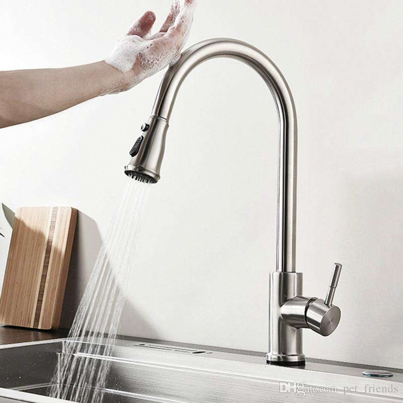Stainless Steel Brushed Touch Sense Control Kitchen Faucet Pull Out Sink  Mixer Water Tap ware Double Flow Setting Pause Button