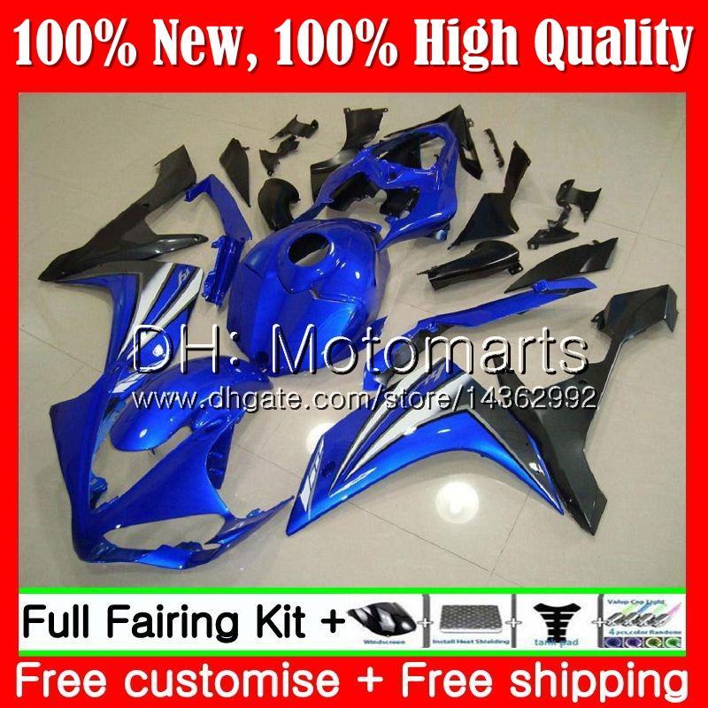 BODAS DE INJEÇÃO PARA YAMAHA YZF R 1 YZF 1000 YZFR1 07 08 98MT12 YZF R1 07 YZF1000 Azul de fábrica YZF-1000 YZF-R1 2007 2008 Carenagem de carroçaria