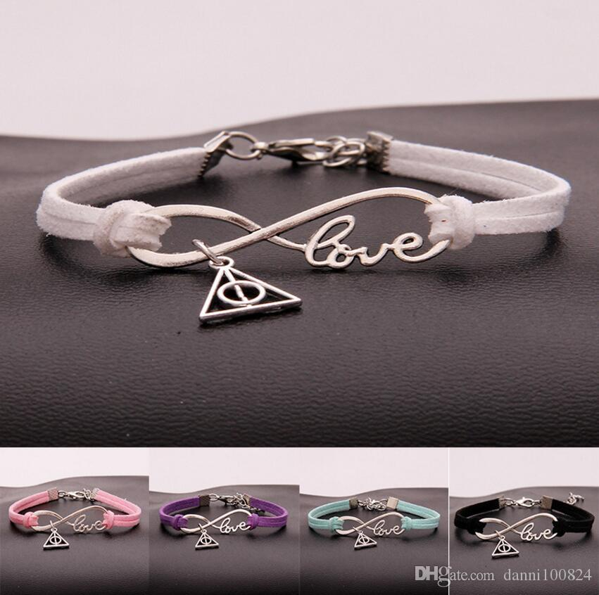 Hot 10pcs/lot Infinity Love 8 Bracelet Triangle Death sacred Charm Pendant Women/Men Simple Bracelets/Bangles Jewelry Gift A141
