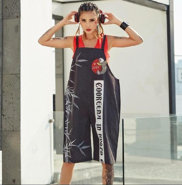 2019 New Graffiti Printed Women Playsuits Jumpsuits Overalls Pants For  Women Rompers Chinese Style Hip Hop Dance Clothes