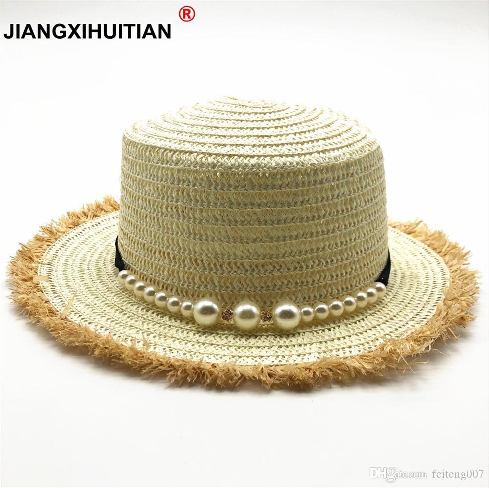Compre 2018 Nuevo Sombrero De Paja Con Tapa Plana Gotas De Viaje De Las  Mujeres De Primavera Y Verano Ocio Playa Sombreros Para El Sol Sombrero De  Las ... b9193b429c5