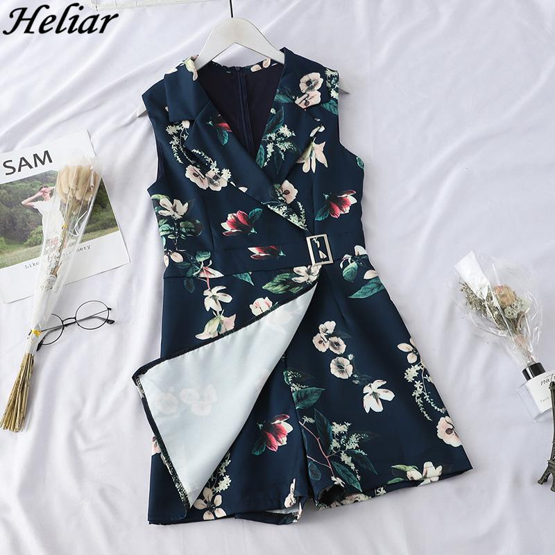 HELIAR 2019 Women Playsuits Lady Floral Printed Pumpsuits with Sashes Rompers Lapel Sleeveless Party Cloth Female Playsuit