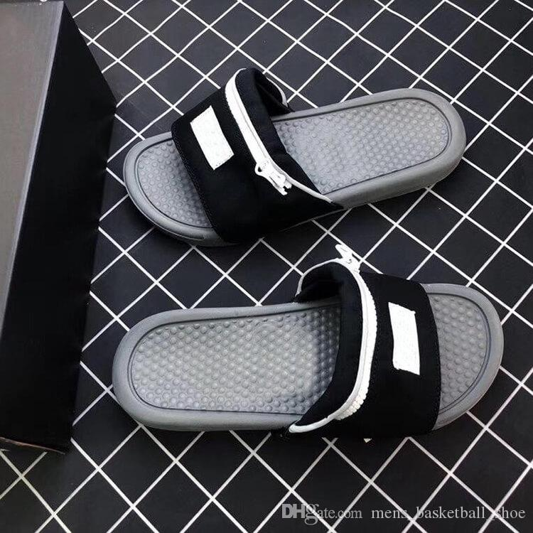 2019 Designer Nik Slide Sandal Slippers Zipper Bag Key Bottoms Beach Holiday For Men Women Flip Flops Striped Beach Causal Slipper