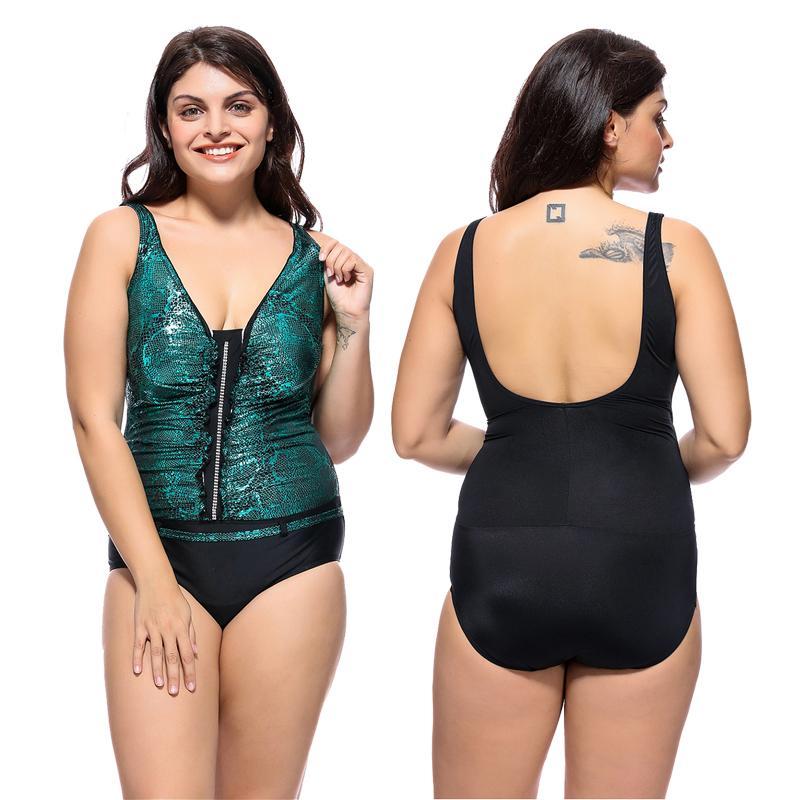 8ba6f9181cb4e 2019 New Sexy Snakeskin Monokini Women One Piece Swimsuit Sequin Patchwork  Swimwear Plus Size 2XL 6XL Backless Deep V Bathing Suit From Luanxiaobo