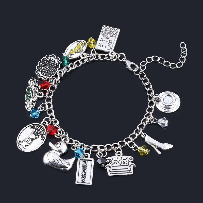 SG Top Fashion TV Show Friends Bracelets Central Perk Coffee Time Smelly Cat Charms Bangles For Women Girl Jewelry BFF Xmas Gift
