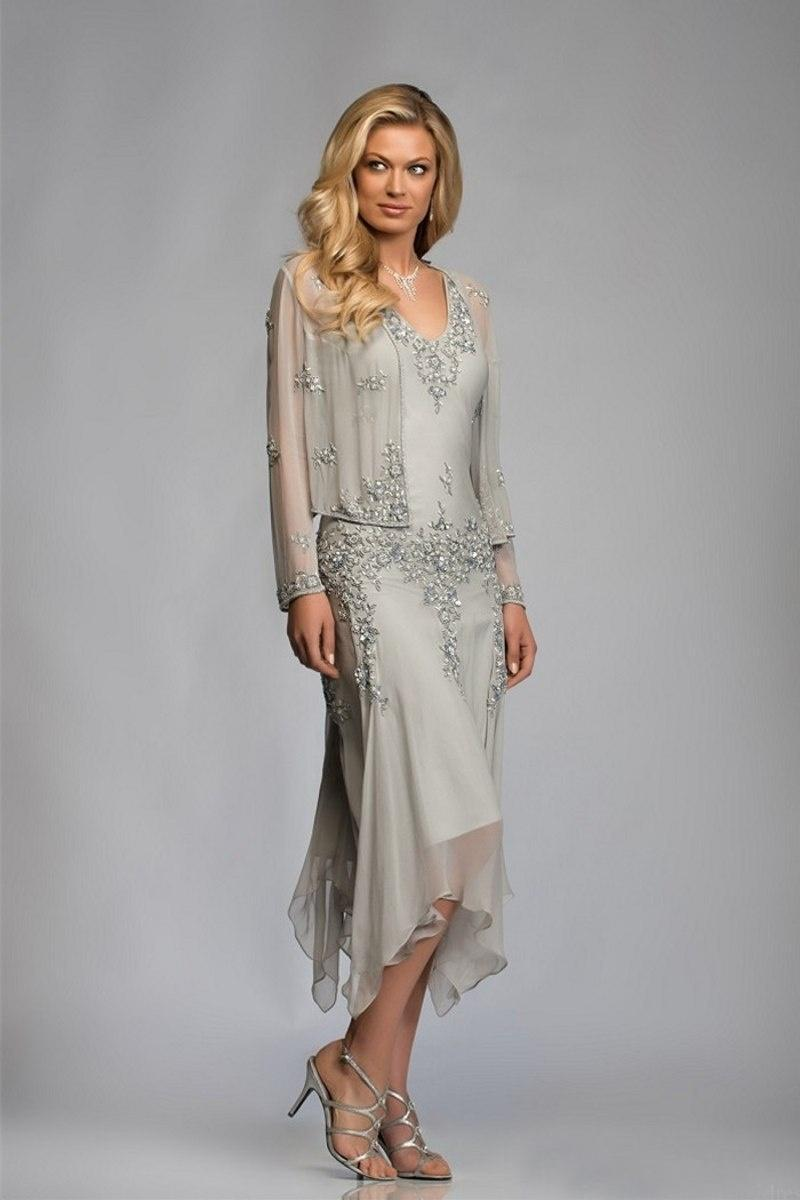 69bdd370ea0 2019 New Two Pieces Mother Of The Bride Dresses With Coat Long Sleeve Tea  Length Evening Wedding Guest Gowns Cheap Plus Size Mother Of The Bride  Dresses Von ...