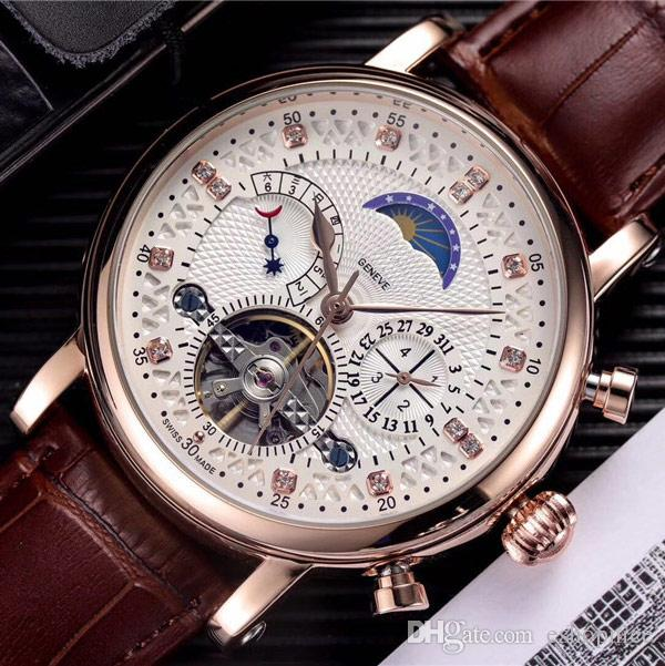 Top brand mens watches Luxury designer mechanical automatic Genuine Leather strap Diamond dial daydate Moon Phase watch for men best Gift