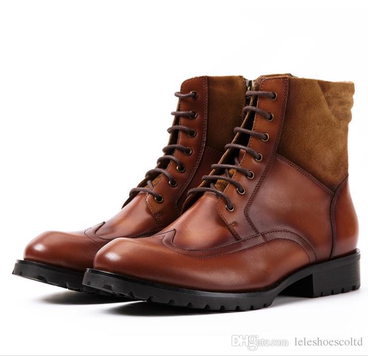 e7cdf218d8 Compre Nuevo Tamaño Grande Tallado En Cuero Genuino Zapatos De Vestir Para  Hombres