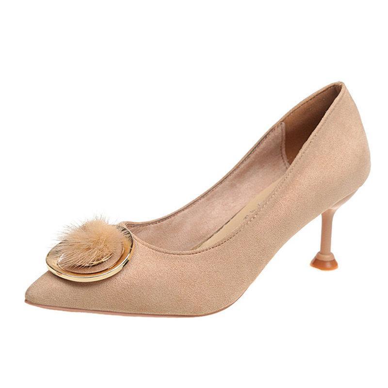b53bcdd87 Compre Designer De Sapatos De Vestido 2019 Novo Outono Das Mulheres Bombas  Maduras De Salto Alto Fur Com Metal Mulher Verão Feminino Comforable Rasa  ...