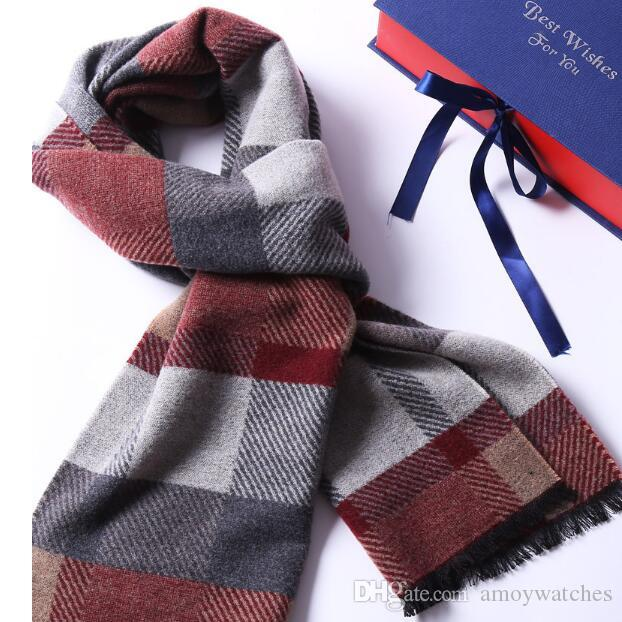 New scarf male winter mulberry silk wool blended Korean version of the student versatile warm simple grid neck