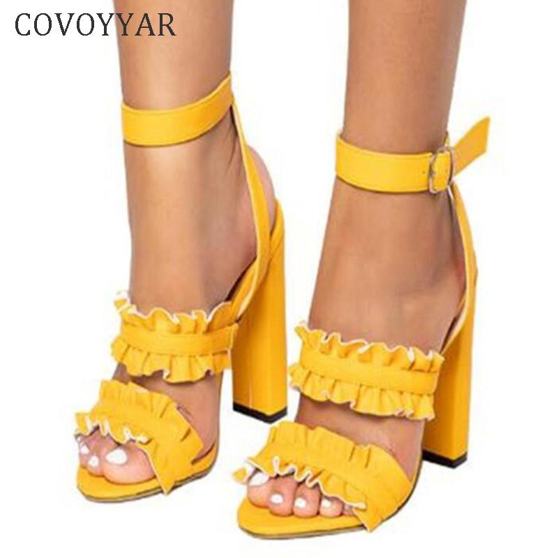 bee7c0c2e96a2 Dress Shoes Covoyyar Sweet Women High Heels Flower Band Chunky Heel Woman  Sexy Ankle Strap Lady Party Wedding Big Size Whh143 Mens Dress Shoes Prom  Shoes ...