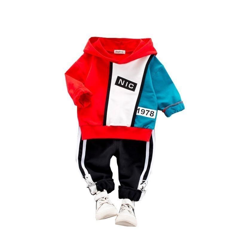 c02a5a5a28850 Acheter 2019 Nouveau Printemps Enfants Patchwork Vêtements Costumes Bébé  Garçon Infantile Sweat À Capuche Pantalon   Ensembles Enfant Sport Vêtements  ...