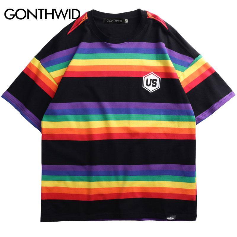 0277808590 GONTHWID Hip Hop Rainbow Striped T Shirts Harajuku Casual Streetwear Tops  Tees Mens 2019 Summer Short Sleeve Cotton Tshirts Male Cool T Shirt Online T  Shirt ...