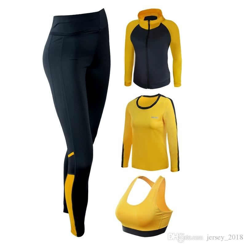 Sport Suit Women Yoga Set Solid Color Long Sleeve Zipper Jacket+Shirt+Bra+Pants Leggings Fitness Sportswear Gym Workout Clothes #40596