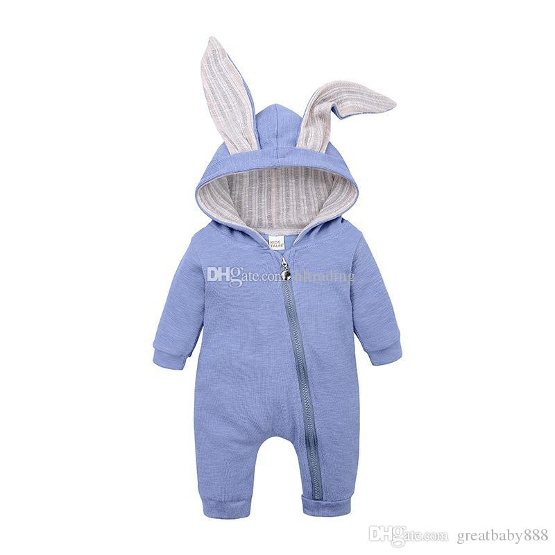 e4fc60885475b 2019 Cute Rabbit Ear Hooded Baby Rompers For Boys Girls Newborn Bunny Ear  Climbing Clothes Jumpsuit Infant Costume Baby Sleeping Bags C5761 From ...