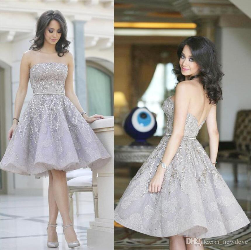 Sparkly Short Homecoming Dresses A Line 2019 Strapless Knee Length Sequins Beaded Graduation Dress Arabic Cocktail Prom Party Gowns