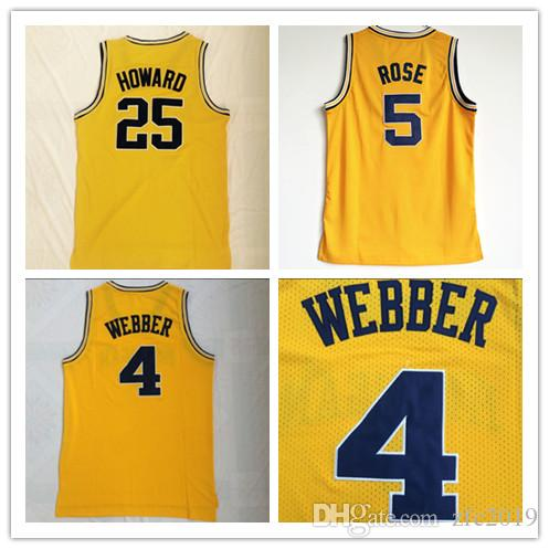 cheap for discount af9bf bf17a NCAA Mens Michigan Wolverines #4 Chris Webber #5 Jalen Rose #25 Dwight  Howard Jersey University College Basketball Jerseys online shopping