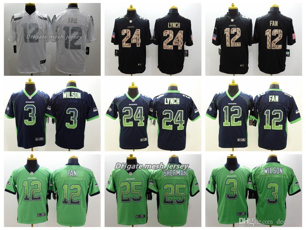 Men Seattle Jersey Seahawks 24 Marshawn Lynch 12s 3 Russell Wilson 25  Richard Sherman Color Rush Football Jerseys Embroidery Logo New Shorts New  Jersey ... 920dd73ae