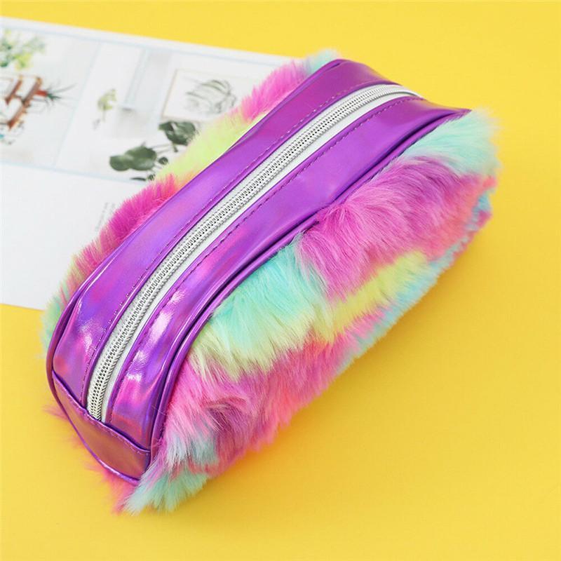 Новые современные сумки Laser Cosmetic Bag Радуга искусственного меха Макияж Дело путешествия хранения сумки мешок дамы Новый В моды HOT сумки