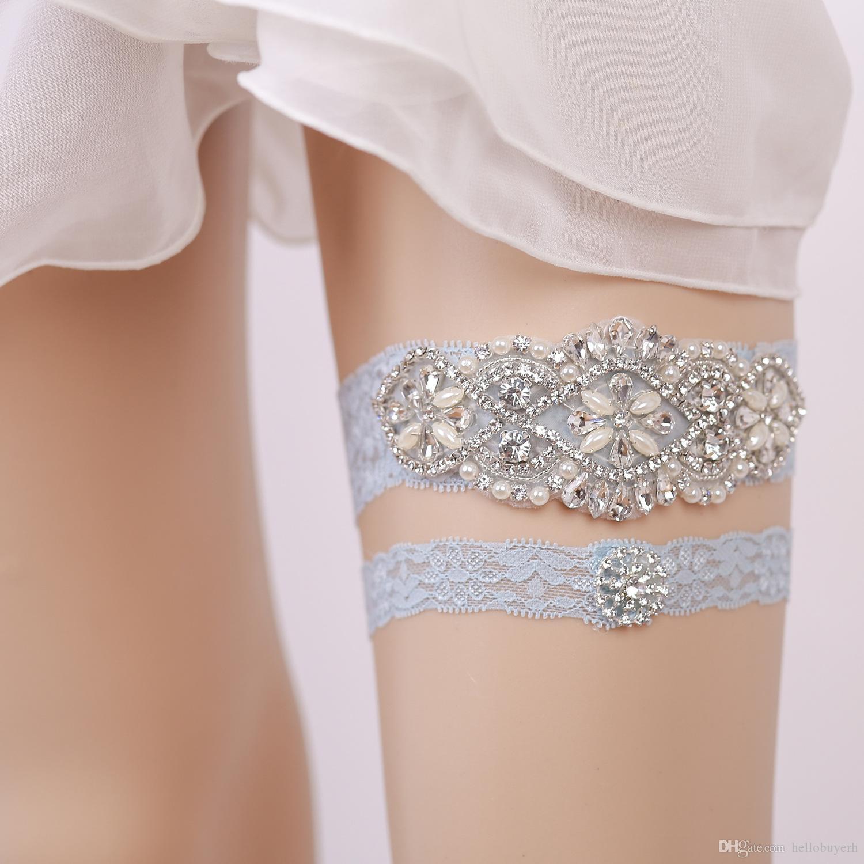 23b7f8dc9 Cute Set Bridal Leg Lace Garters Prom Garter Bridal Wedding Garter Belt Lace  Rhinestones Crystals Pearls Light Blue In Stock Modest Rhinestone Garter ...