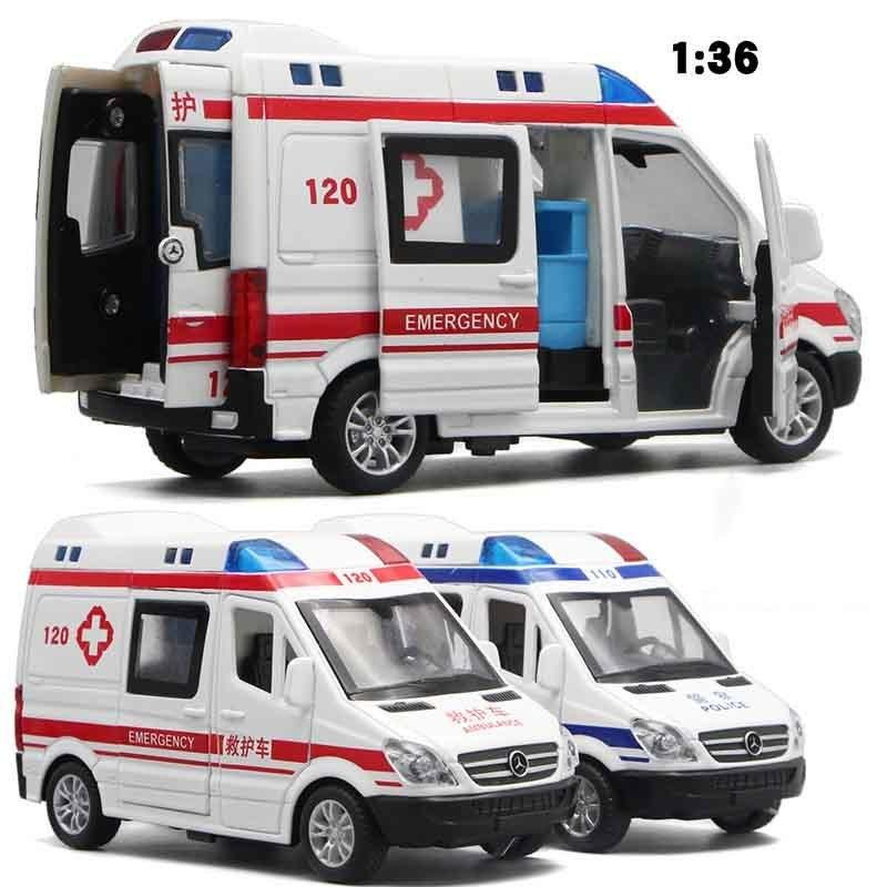 1:32 Hospital Rescue Ambulance Police Metal Cars Model Pull Back Sound And  Light Alloy Diecast Car Toys For Children J190525