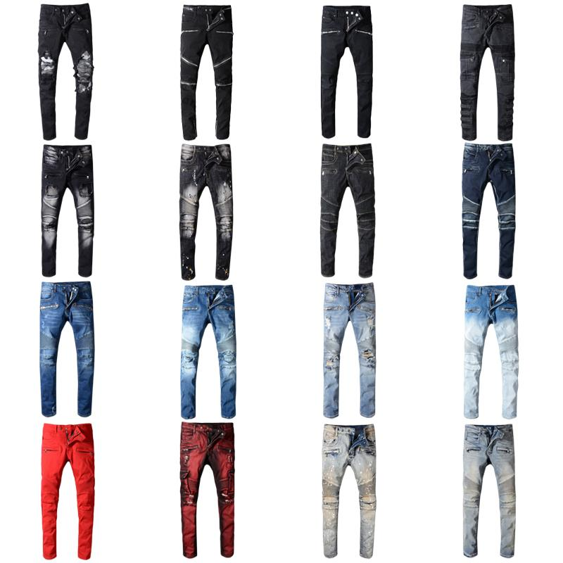 Brand Designer Jeans Rock Renaissance Jeans The United States Street Style  Boys Hole Embroidered Jeans Men Women Fashion Size 28-42