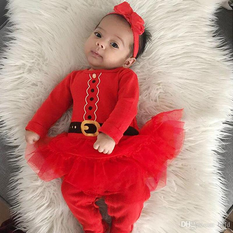 Autumn Baby Girl Rompers Fashion Lace Tutu Patchwork Newborn Baby Clothes For Girls Long Sleeve Kids Christmas Jumpsuit Baby Girls Outfits